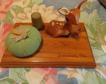 Vintage Wood DEER Pincushion Thimble Jamestown, VA Sewing Accessory