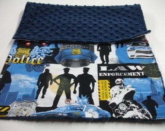 Police Law Enforcement Baby Burp Cloth with Minky  13 X 20 READY TO SHIP
