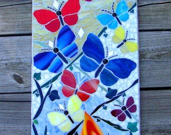 Butterfly Garden Original Mosaic Art Wall Hanging