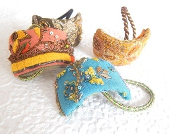 Beaded fabric ponytail hair cuffs, embroidered hair jewelry, elastic scrunchie, 4 colors