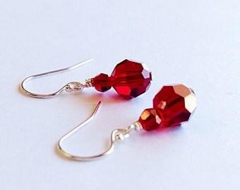 Crystal anniversary gift - July birthday gift - red crystal earrings - 3rd anniversary gift - 15th - ruby red earrings