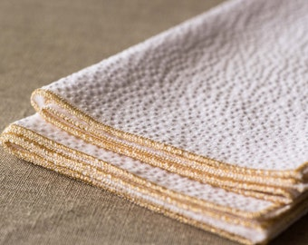 Metallic and White Seersucker Cloth Napkins, set of four, copper, gold, silver
