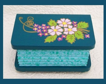 Teal Flower Trinket Box, Wood Trinket Box, Jewelry Holder, Unique Gift, Jewelry Organizer, Floral Design, Mother  Daughter Gift