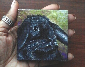 "Mini Oil Painting Black Bunny Pet Portrait 3""x 3"" READY to SHIP"