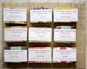 Soap Sampler Bag// Nine Sample Soaps// Natural Guest Bars