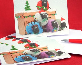 Sheep Christmas Card, Christmas Card, Funny Christmas Card, Pack of five Christmas cards, Christmas Card Pack, Novelty Christmas Cards