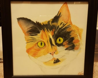 Watercolor Pencil Calico Cat Painting or Print