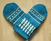 Hand-knit Scandinavian teal, green, yellow and white mittens -- Sibelius design