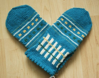 Hand-knit Scandinavian teal, green, yellow and white mittens -- Sibelius design
