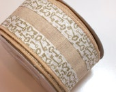 Offray Keyed Up Ribbon, Natural Beige Wired Fabric Ribbon 2 1/2 inches wide x 10 yards, Key Pattern