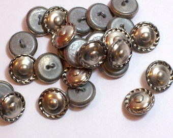 Silver Buttons, Silvertone Metal Buttons x 25 pieces 9/16 inch (14 mm) diameter, Braided Edge