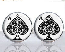 20% OFF - Ace of Spades Round Glass Tile Cuff Links CIR171