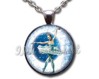 Nutcracker Snow Queen - Round Glass Dome Pendant or with Necklace by IMCreations -   BA105