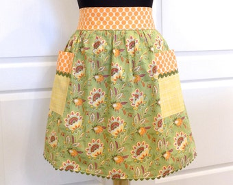 Womens Retro Half Apron with pockets Baking Cooking Canning