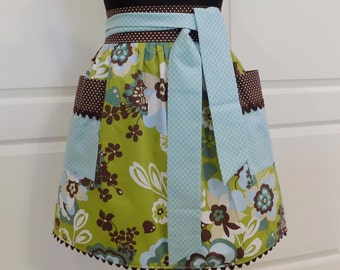 Womens Half Apron Retro Chic Cute Kitchen Waist Aprons with Pockets