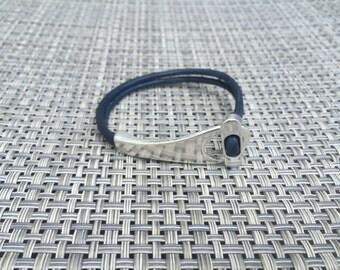 Silver Paddle Toggle & Leather Bracelet