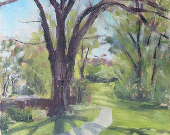Spring Landscape Painting with Tree - 12x12 - Original Oil on Canvas Wall Art