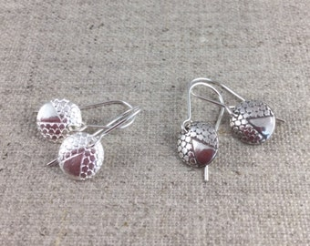 Fine Silver Antique Deco Button Earrings