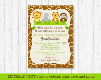 Jungle Safari Baby Shower Invitation / Safari Baby Shower / Jungle Baby Shower / Jungle Animals / Editable INSTANT DOWNLOAD A100