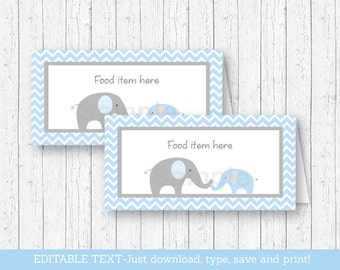Blue Chevron Elephant Buffet Cards / Food Labels / Place Cards / Elephant Baby Shower / Baby Boy Shower / INSTANT DOWNLOAD Editable PDF