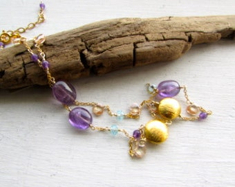 Amethyst Citrine Aquamarine Gold Filled Necklace