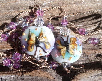 Butterfly Lampwork Beaded Silk Lariat Necklace