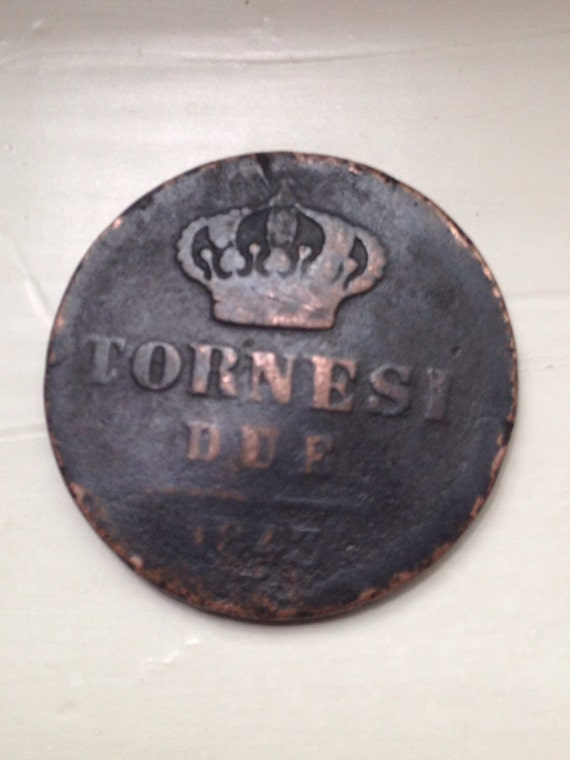 1843 2 Tornesi Coin Italy Naples and Sicily - Italian States Copper Coin
