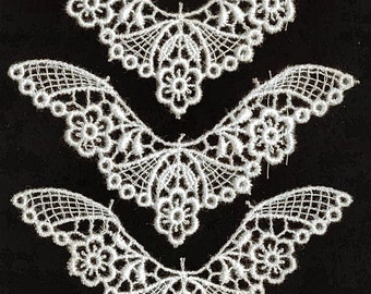 Three Butterfly Style Nottingham Quipure Lace Motifs
