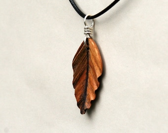 Handcarved  Ambrosia Maple and Purpleheart Wood  Leaf / Feather Pendant J160223