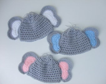 Crochet Baby Elephant Hat, You Pick Size and color, Photo Prop, Ready to Ship