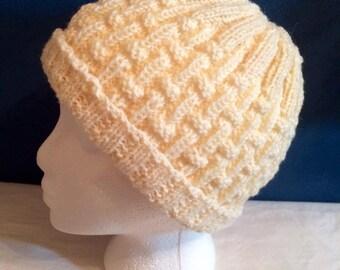 Hand Knit Hat Beanie Winter Hat Cream Hat Toque Knitted Hat Soft Warm Unisex Mens Gift Teen Gift Women Gift Gender Neutral