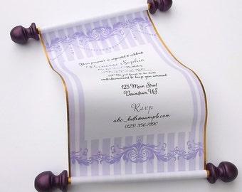 Princess birthday invitation scroll, gold and purple, sweet sixteen invitation, set of 10