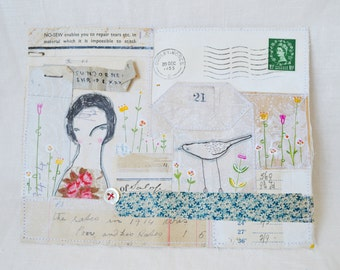 ARTWORK ORIGINAL : Mixed media collage - envelope artwork - hand drawn