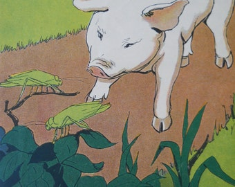Vintage Children's Book Illustrations • Art Print Pigs Book Pages 1920s • 1929 Twistum Tales Illustrated Book 2 Pages