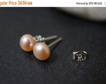 AUTUMN SALE CLEARANCE - Sweet and Simple 925 Sterling Silver Pink Salmon or Peach Cultured Fresh Water Pearls Earrings 6mm - 1 pairs