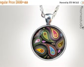 ON SALE Paisley BLK : Glass Dome Necklace, Pendant or Keychain Key Ring. Gift Present metal round art photo jewelry HomeStudio. Silver Coppe