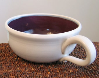 Large Pottery Soup Mug in Plum Purple 16 oz. Ceramic Cappuccino Coffee Cup