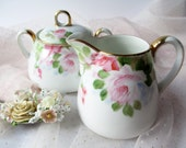 Antique Nippon Pink Rose Cream and Sugar Set