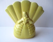 Vintage Yellow Ceramic Lady Vase - Cottage Chic