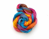 Hand dyed embroidery thread, space dyed cross stitch floss, blue, pink, orange, yellow, mauve, purple, 20 metre (22 yard) skein