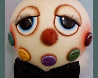 hand painted snowman gourd nodder winter christmas buttons glitter top hat rusty spring jingle bells prim chick lisa robinson teamhaha ofg