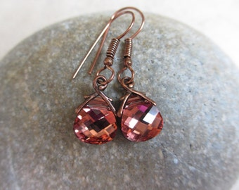 Light Rose Rosaline Earrings, Swarovski Crystals, Dark Pink, Salmon, Small, Bridesmaid, Irisjewelrydesign