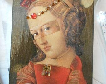 Original Paper Collage on Wood Panel, Renaissance Woman with Accents, Super Fun Kitschy Art, OOAK Original Collage, Decorative Arts