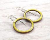 Yellow Earrings, Torch Fired Enamel, Circles, Dangles, Copper, Vitreous Enamel, Sterling Silver, #4183-107