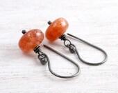 Orange Gemstone Earrings, Sunstone Dangles, Sterling Silver, Casual, Rustic, Minimalist,  #3583
