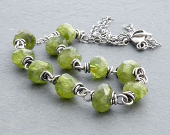 Faceted Peridot Necklace, August Birthstone Necklace, Sterling Silver, Wire Wrapped, Green Gemstone, Peridot Gemstone Necklace, #4654