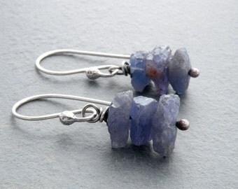 Raw Tanzanite Earrings, Blue Gemstone Dangle Earrings, Rough Tanzanite Earrings, Violet Blue Gemstones, Sterling Silver, #4626