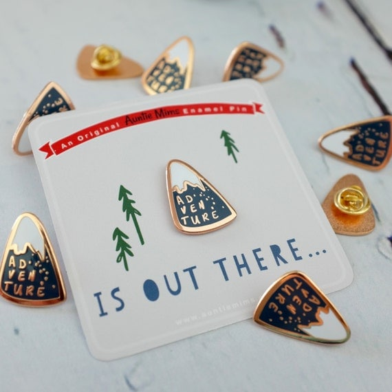 Mountain adventure enamel pin... pin badge