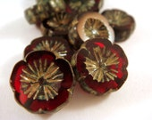 6 Garnet Czech Glass Picasso Chunky Pansy Red Flower Beads Transparent  14mm - 6 pc - G6056-RGP6