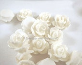 10 White Flower Cabochon Beads Rose Resin 10mm - No Holes - 10 pc - CA2006-W10 - Select Qty
